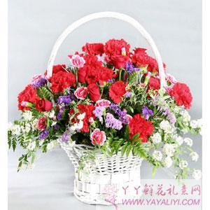 花店玫瑰康乃馨手提鲜花花篮(爱你的人)(单只)