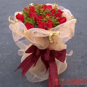 鲜花速递19朵红玫瑰
