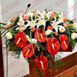 西安讲台花(豪华型)6枝百合22枝粉玫瑰