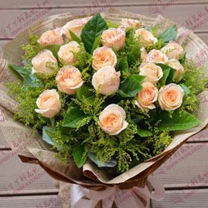 花店丫丫鲜花配送19朵香槟玫瑰