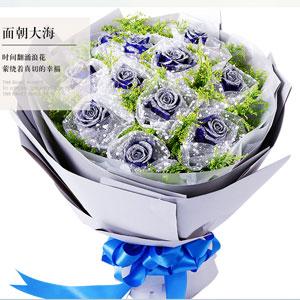 鲜花速递19枝蓝玫瑰