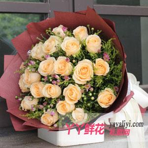 鲜花19枝香槟玫瑰