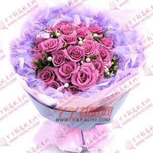 鲜花21枝紫色玫瑰