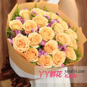 一世守候 - 鲜花速递19枝精品香槟玫瑰
