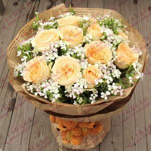 鲜花11支香槟玫瑰2只小熊(钟情于你)