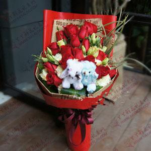 鲜花19枝红玫瑰2只小熊预定(很爱很爱你)