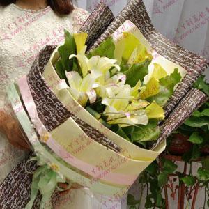 鲜花3支精品铁炮百合8支精品马蹄莲(百事顺心)