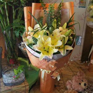 鲜花6枝精品铁炮百合(依然美丽)