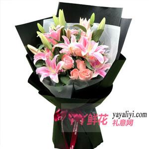 鲜花16朵粉百合9朵粉玫瑰混搭