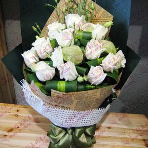 鲜花11支白玫瑰配洋桔梗巴西叶