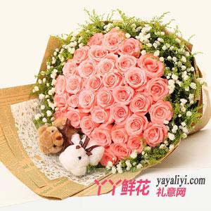鲜花速递33朵戴安娜玫瑰