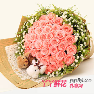 33朵粉色玫瑰花