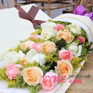 鲜花19支混色玫瑰礼盒