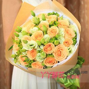 甜蜜的爱 - 鲜花19支香槟玫瑰网上订花