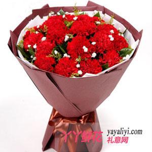 心中唯你 - 鲜花速递19支红色康乃馨