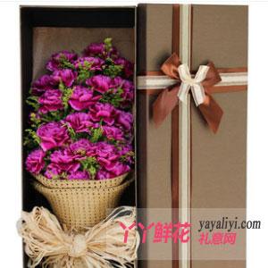 19朵紫色康乃馨咖色礼盒