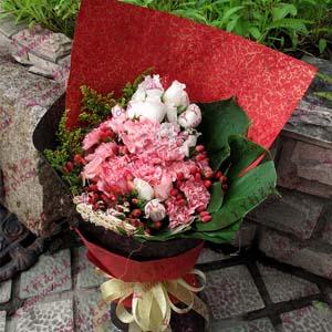 16枝粉色康乃馨