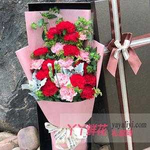 感恩祝福 - 19枝双色康乃馨礼盒鲜花速递