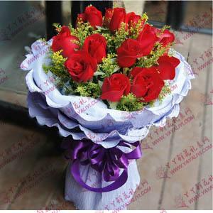 鲜花19支精品红玫瑰