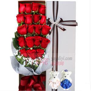 19支红玫瑰2小熊高档礼盒
