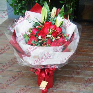 鲜花11支红玫瑰2支百合