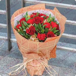 11支红玫瑰9支康乃馨同城鲜花配送