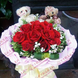 鲜花11支红玫瑰2只小熊
