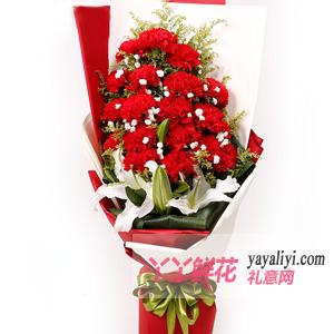 真诚相伴 - 19朵红色康乃馨4朵百合鲜花速递