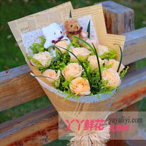 特价鲜花11支香槟玫瑰2只小熊(一生一世的爱恋)