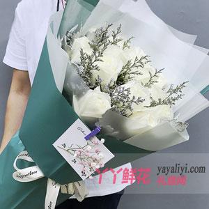 不能忘怀的笑容 - 鲜花速递19支白玫瑰
