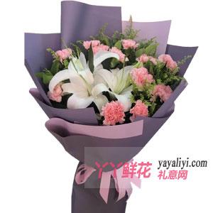 鲜花11支粉色康乃馨
