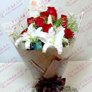 鲜花11支红玫瑰3支百合
