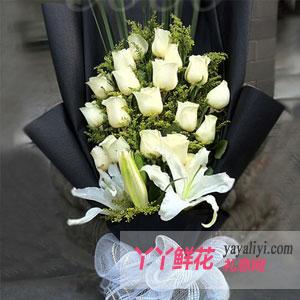 你最珍贵:鲜花速递19支白玫瑰3枝百合