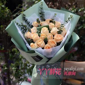 钟情 - 鲜花速递19支香槟玫瑰