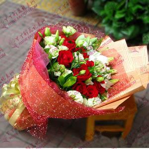 鲜花11支红玫瑰6支百合