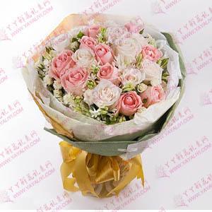 鲜花速递22支粉玫瑰白玫瑰混搭花束(有你)
