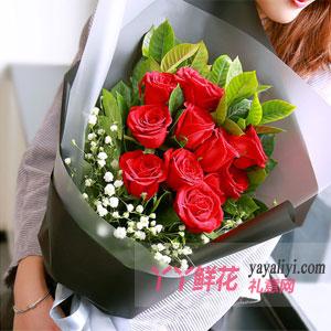 永沐爱河 - 鲜花11支红玫瑰2支百合