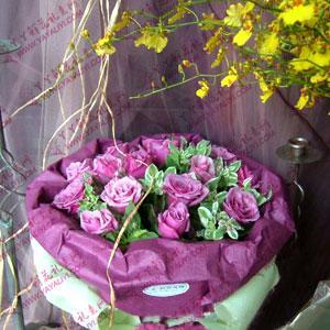鲜花速递19枝紫玫瑰
