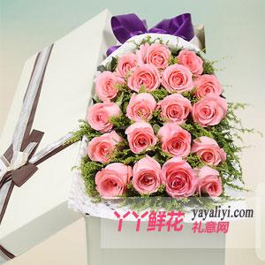 粉色佳人 - 鲜花19支粉玫瑰方形礼盒