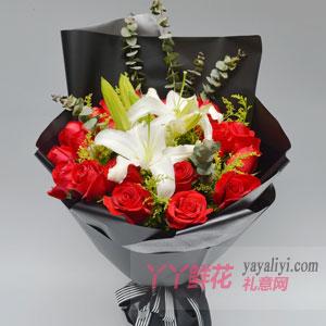 圣诞节鲜花19支红玫瑰6朵百合速递