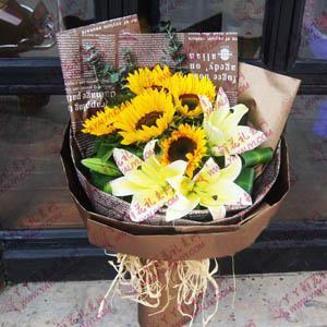鲜花5枝精品向日葵2枝百合