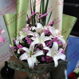 鲜花速递6枝白色百合(典雅芳华)