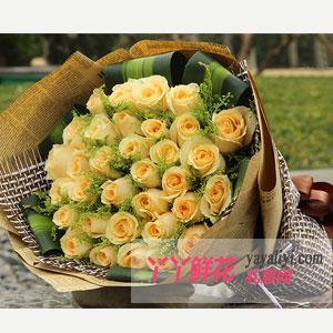 鲜花速递33支香槟玫瑰