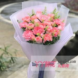 母亲节快乐19枝粉色康乃馨