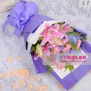 11枝粉色康乃馨2枝粉色香水百合