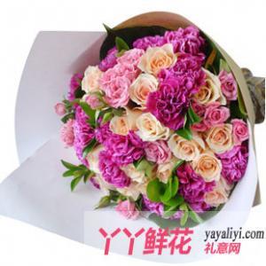 鲜花18枝香槟玫瑰10枝康乃馨