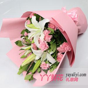 母亲节19枝粉色康乃馨鲜花预定