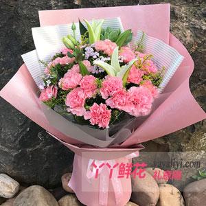 母爱无边 - 鲜花19枝粉色康乃馨4枝百合