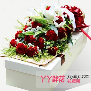 19支红色康乃馨2枝多头百合白色礼盒