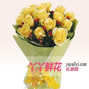 父亲节15枝黄玫瑰